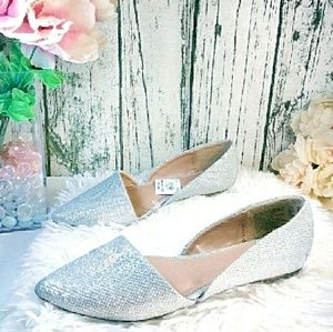Fioni   D'orsay pointed toe silver sparkly flats